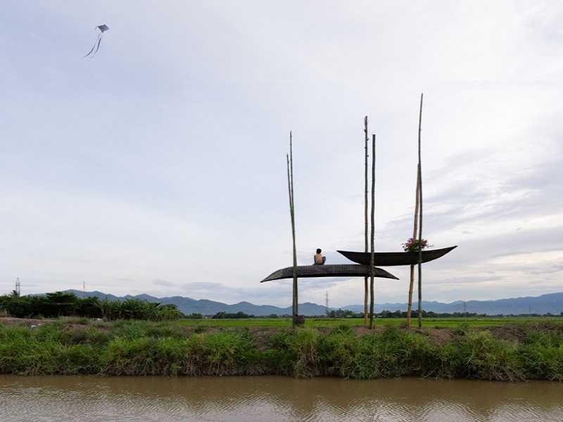 залив лодки плетеные