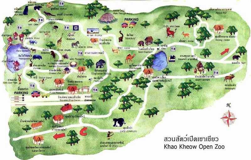Зоопарки Паттайи Кхао Кхео схема
