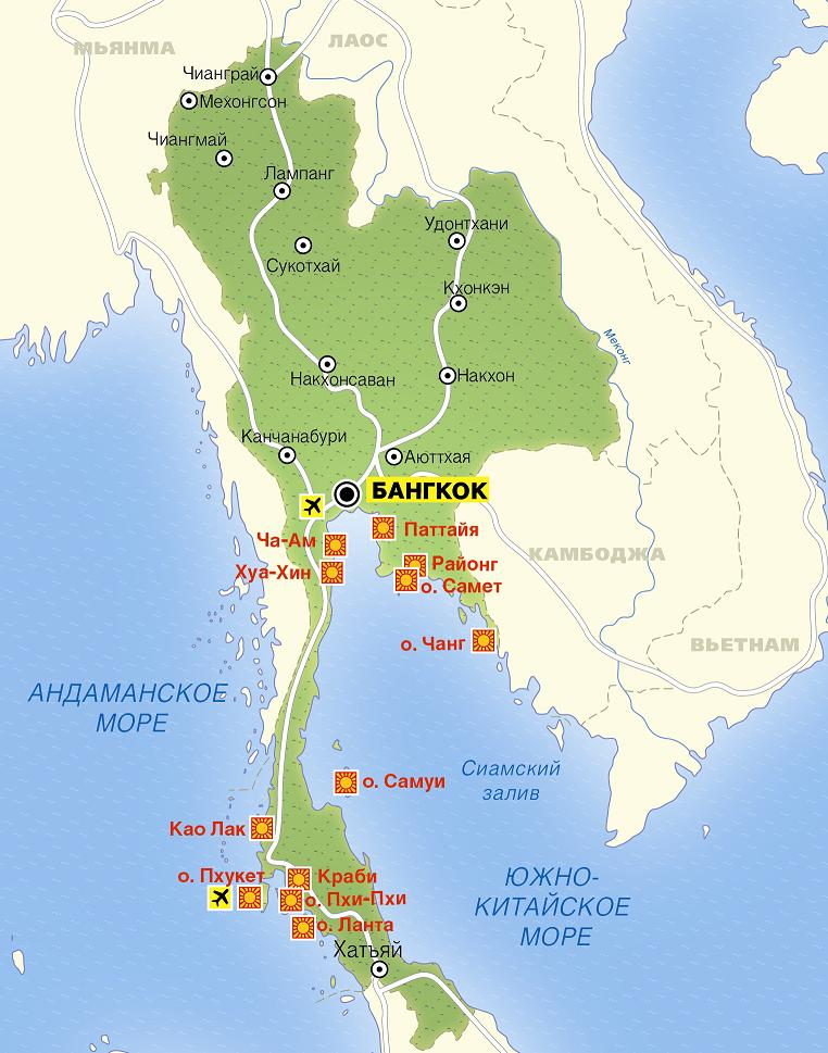 карта тайланда с островами